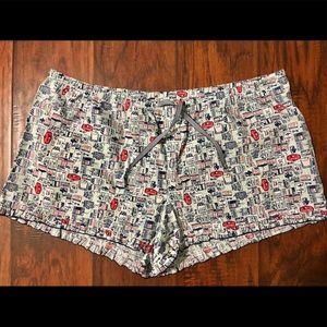 NWT Travel Theme Ruffled Pajama Shorts